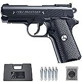 Ecommur. Colt Defender Full Metal | Pistola de perdigones (Bolas BB's de Acero) de Aire comprimido semiautomática 4,5mm + maletín + balines y CO2