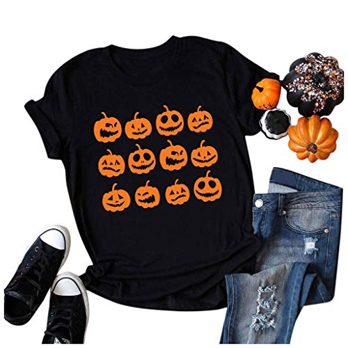Check Out This Halloween Shirt for Womens Pumpkin Print Short Sleeve Casual T-Shirt Halloween Graphi...