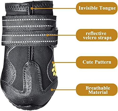 Havenfly 4 pcs Bottes Chien,Chaussures pour Chiens imperméables avec Bretelles réglables réfléchissantes pour Le Grand Chien de Taille Moyenne Dog(A, 8)