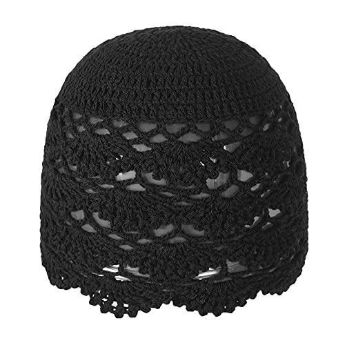 ZLYC Gorro de ganchillo de algodón para mujer, hecho a mano, con diseño floral, Negro sólido, Talla única