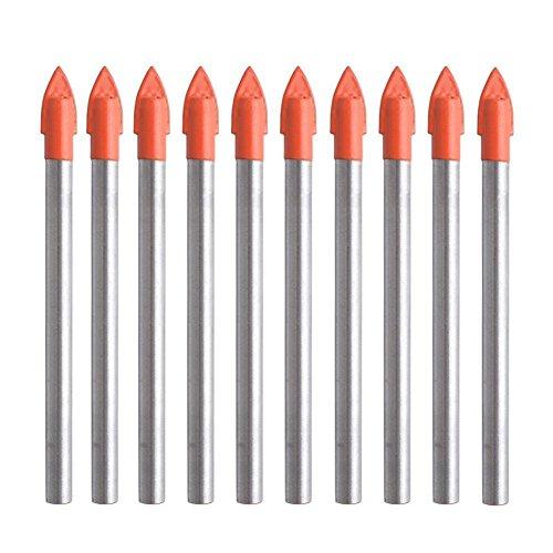 Kirmax 10 piezas de 6 mm de bits de brocas de vidrio y azulejos Set Carbide Drilling Tool