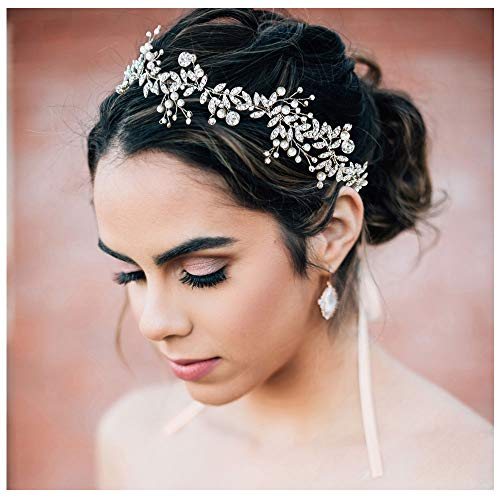 SWEETV Silber Hochzeit Stirnbänder Kristall Perle Haarband Bohemien Haarreifen Kopfschmuck