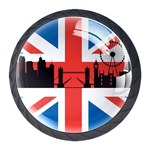 Pomo redondo de cristal de la bandera británica de Londres con tornillos para armarios de oficina en casa (35 mm, 4 unidades)