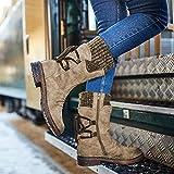 Rendeyuan Invierno al Aire Libre Botas con Cordones en la Espalda cálida Protección contra la Nieve de Invierno Botas cálidas Cultura Gruesa Botas cálidas con Cordones - Bronceado - 41