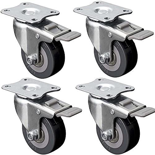 Ruedas giratorias de 2 Pulgadas con Soporte de Carga 200 kg giratorias de 50 mm para Servicio Pesado Mute PU con Frenos de Doble Bloqueo Muebles Carro con Juego de 4 Gris