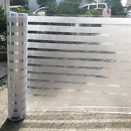 LMKJ Película de Papel de Aluminio de protección de privacidad Opaca a Rayas, Etiqueta de Vidrio sin Pegamento estático, película Decorativa de Vidrio para baño de Oficina en casa A92 30x200cm