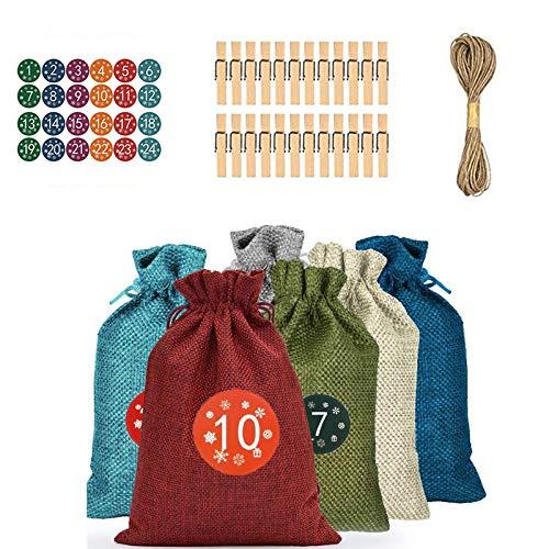 Bolsas Dulces,Bolsitas de Yute para ,Saco Navidad,Usado para bolsa para regalos de navidad, cumpleaños,Bricolaje artesanía, joyas y otros detalles hechos a mano(24 PACK)