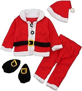 UNIQUEONE 4PCS Infant Baby Santa Christmas Tops+Pants+Hat+Socks Outfits Costumes