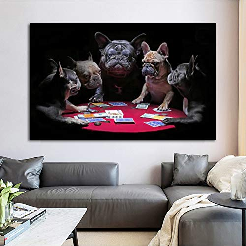 N / A Art Dog Poker Posters And Prints Animal Bulldog Pictures For Home Wall Art For Living Room Decoration Frameless 60x90cm