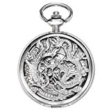 TREEWETO Reloj mecánico de bolsillo con diseño de dragón de la suerte y caja de regalo