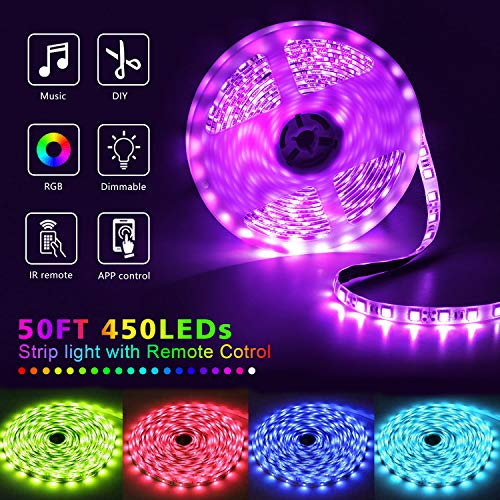 50Ft LED Strip Lights Music Sync Color Changing RGB LED Strip 44-Key Remote, Sensitive Built-in Mic, App Controlled LED Lights Rope Lights, 5050 RGB LED Light Strip(APP+Remote+Mic+3 Button Switch) 4