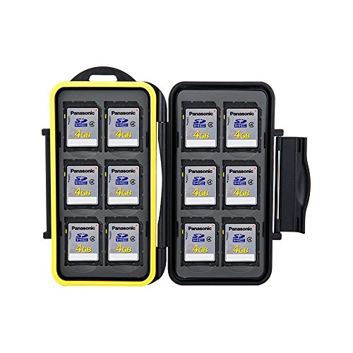 JJC MC-SD12 Water Resistant Holder Storage Memory Card Case fits 12 SD Cards