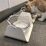 Zhcheng Alimentador Ajustable para Mascotas de 15 Grados Tazón Perro Gato Tazón de alimentación Ajustable Bebedero Alimento Alimentador para Mascotas Alimentador de Platos para Perros Vajilla-Blanco