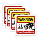 Mavicen (4 Pack) 24 Hour Video Surveillance Sign, 5.9 x 5.9 Inch Sleek Vinyl Decal Stickers, Adhesive on The Back for Windows, Walls, Doors, Indoor & Outdoor Use Waterproof Long Lasting Ink