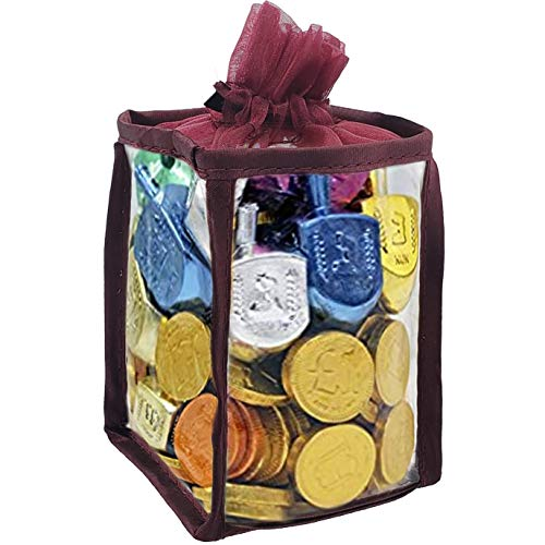 Hanukkah Gift Set Of Dreidels and Chocolate Gelt Coins for Chanukah In Adorable Dreidel Shaped Keepsake Bag With Game Instruction Card Included