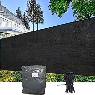 EVERGROW 8' x 50' Black Heavy Duty Privacy Fence Screen Commercial Outdoor Shade Windscreen Mesh Fabric with Brass Grommet 90% UV Blockage 8 x 50 feet Black