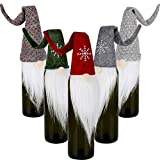 5 Pieces Christmas Gnomes Wine Bottle Cover Santa Wine Bottle Topper Cover with White Beard for Christmas Party Decorations