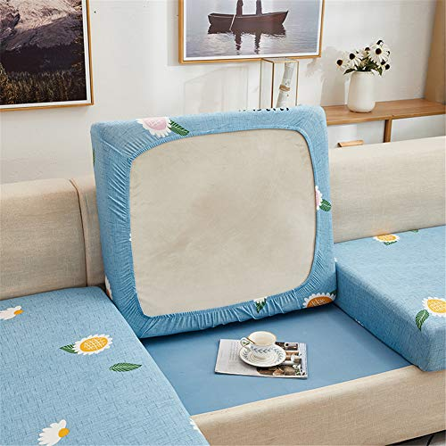Fundas de cojín para sofá y sofá, elásticas, de repuesto para cojines individuales (azul, 4 plazas)