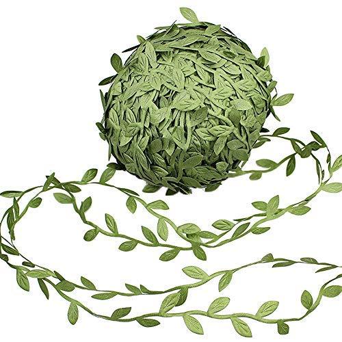 make it funwan - Guirnaldas de Flores Artificiales de Seda para Colgar, 164 pies, imitación de Hojas Verdes de ratán, Accesorio de Corona para Bodas, Manualidades, decoración de Fiestas, Color Verde
