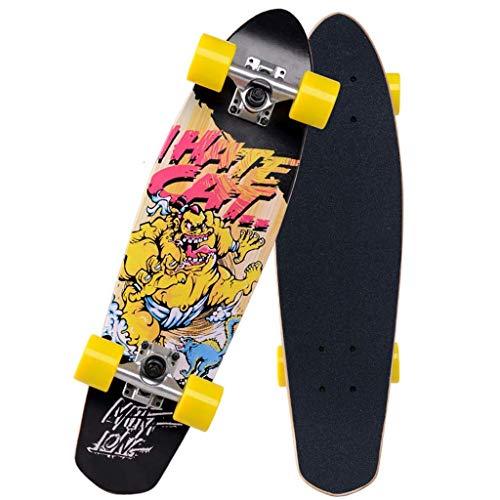 LQH 7-lagigen Maple Complete Skateboard Deck Pro Balance Führ Skateboard Anfänger Erwachsene/Jugend/Kinder Skateboard 27x7 Zoll, Doppelschleuderplatte Embedded Skateboard, Vierrad-Wear-Resists