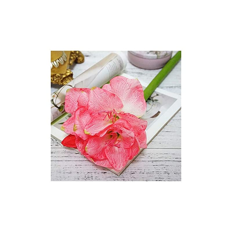 silk flower arrangements office artificial amaryllis flower branch fleurs artificielles for home table wedding decoration fake silk flowers hippeastrum flores leisure (color : pink)