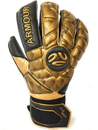K-LO Fingersave Goalkeeper-Soccer Goalie Gloves- Armour Pro-Pack Extra Precision Grip, German Latex Build-Hybrid Cut, Inside Silicone Gel, Non-Slip-Youth-Kids + Adult Sizes Free Items Included (10)