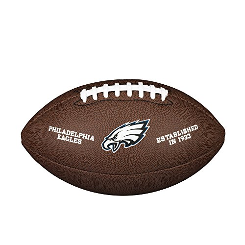 Wilson American Football Ball, NFL Team Logo- Eagles, Official Size, Philadelphia Eagles Logo, Recreational Use or a Collectible, PVC, Brown, WTF1748XBPH