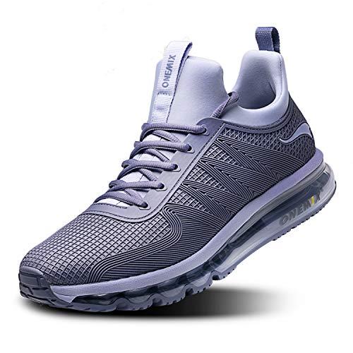 ONEMIX Herren Sportschuhe Mode Leichtgewicht Straßenlaufschuhe Laufschuhe Outdoor Fitnessschuhe 1191 Silvergrey 45