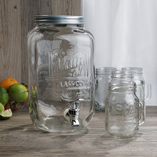 Jay Imports Beverage Dispenser Set - Dispenser (2 Gallon)/ 4 Mason Jar Mugs With Handle