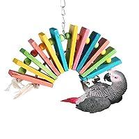 ペット用品 鳥用品 インコ オウム おもちゃ木製 カラー ペット 噛む玩具 吊り下げ ストレス解消 木製 マルチカラー
