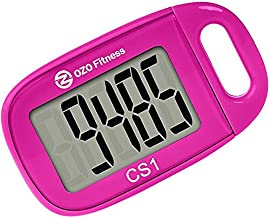 CS1 Easy Pedometer for Walking   Step Counter Clip on   Large Display + Lanyard (Pink)