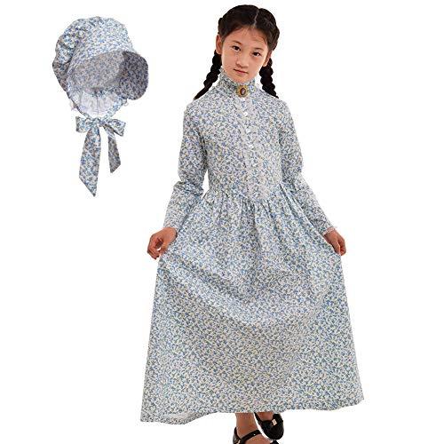GRACEART Reenactment Pionier Prärie Kolonialen Mädchen Kostüm (US Size-08, Hellblau)
