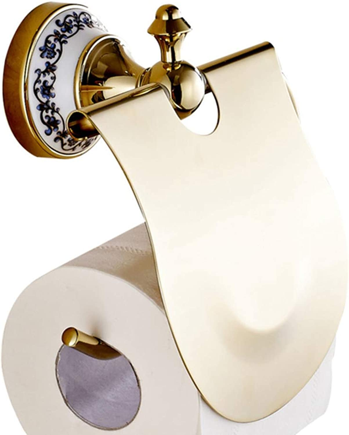 LUDSUY Wall Mounted gold Brass Lavatory Toilet Paper Holder Tissue Holder Roll Paper Holder Bathroom Toilet Accessories