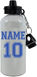 Personalized Custom Soccer, Football, Baseball, Softball Jersey - Add Your Name/Number Aluminum White Finish 20 Ounce 600ML Sport Water Bottle, 2 Lids Customizable