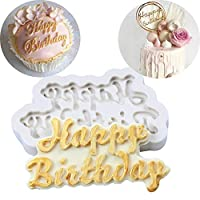 Beautiful 3D Happy Birthday Silicone Fondant Cake Mold Chocolate Baking Sugar Mould Decorating Tool Clay/Rubber Mould