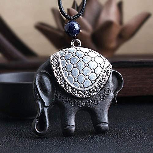 Mayanyan Traditionellen chinesischen Stil aus Holz Pullover Kette Halskette Retro Elefant Anhänger Geschenk Pack