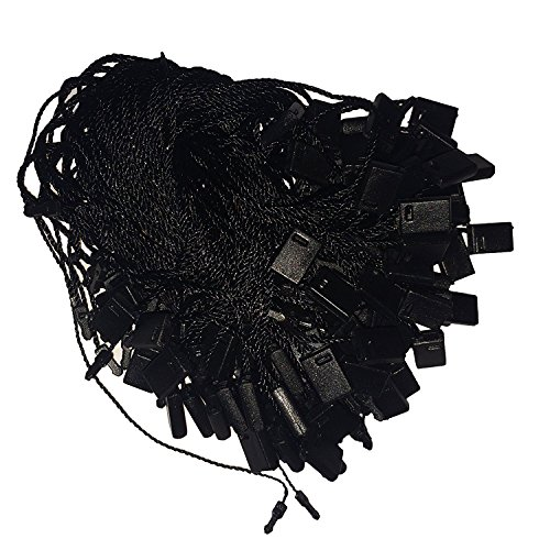 Hang Tag Fasteners - Black Nylon String with Plastic Lock - 500 Pieces - Hang Tag String - Price Tag Fasteners - Snap Lock Tag Fastener