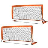 HOMCOM Set of 2 Football Goal Net 6 x 3 ft Foldable Outdoor