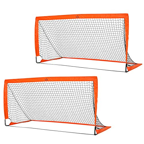 HOMCOM Set of 2 Football Goal Net 6 x 3 ft Foldable Outdoor Sport Training Teens Adults Soccer with Carrying Bag Orange