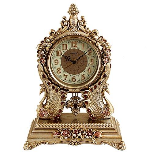 SESO UK- Européenne Retro Mute Horloge De Bureau Salon Chambre Horloge Horloge Horloge Horloge Créative ( Couleur : Marron )
