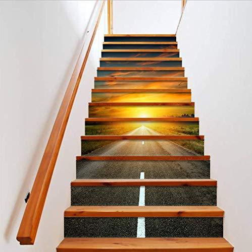Treppenaufkleber neue 3D Leiter Aufkleber DIY Straße Sonnencreme Wandtattoo Abnehmbare Tapete Dekoration Kreative Treppen Aufkleber 18CM*100CM * 13 Teile/Set