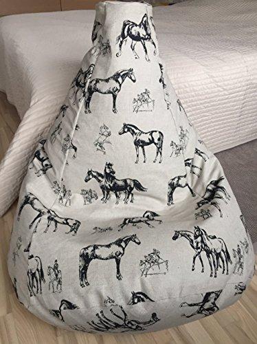 Sitzsack schwarze Pferde für Erwachsene Leinen Bezug Natürliche Stoffe Pferde Muster Sitzkissen Sessel Originelle Geschenkidee Mit Inenbezug OHNE FÜLLUNG
