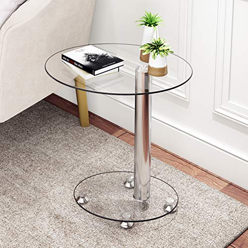 Beliwin End Table Sofa Side Table, Small Modern Clear Glass Coffee/Snack Table Narrow Table for Living Room, Home, Office(Oval)
