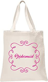 2 x Bridesmaid Natural Bridal Printed Wedding Favour Tote Bags Bride Hen Party Gift Sets Ivory
