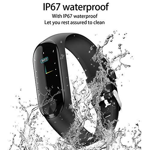 NANAD Fitness Tracker, Hartslag Fitness Polsband Smart Horloge Waterdichte IP67 Activiteit Tracker Bloeddruk Smart Armband met Stopwatch Sport GPS Stappenteller Stap Calorie Counter App Share(Zwart)