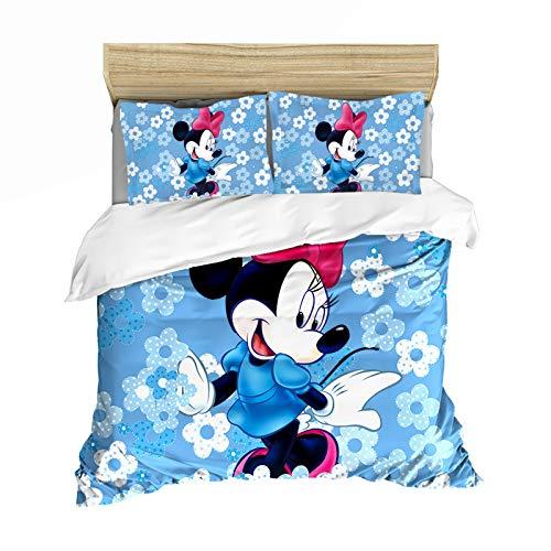 XIAOBUDIAN Disney Mickey y Minnie Mouse Juego de ropa de cama, funda de edredón y funda de almohada de microfibra supersuave, apto para niños, niñas, adultos (220 x 260 cm, F6)