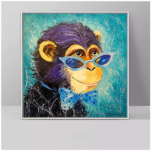 Monkey Wear Gafas Arte de la pared Lienzo Abstracto Animales lindos Carteles e impresiones Arte pop Pintura al óleo para sala de estar 30x30cm (12x12in)