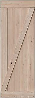 SmartStandard 30in x 84in Sliding Barn Wood Door Pre-Drilled Ready to Assemble, DIY Unfinished Solid Hemlock Wood Panelled Slab, Interior Single Door, Natural, Frameless Z-Shape (Fit 5FT Rail)