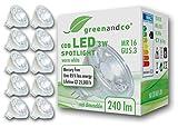 10 unidades de spots LED greenandco® MR16 GU5.3 3W (corresponde a 25W) 240lm 2700K (blanco cálido) COB LED 38° 12V AC/DC