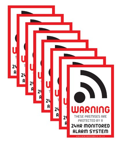 Lote de 8 pegatinas de aviso de alarma contra intrusos, para uso interior o exterior, en inglés